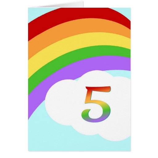 Rainbow Birthday Card For 5 Year Old Greeting Cards