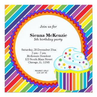 Rainbow Birthday 13 Cm X 13 Cm Square Invitation Card