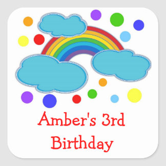 Rainbow Birthday Party Favor Labels Sticker