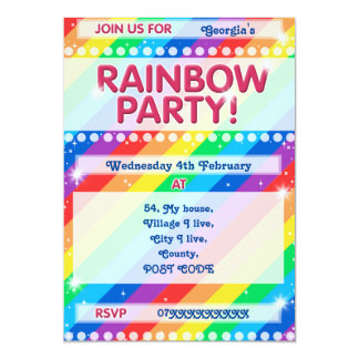 Rainbow Birthday Party Invitation Customisable