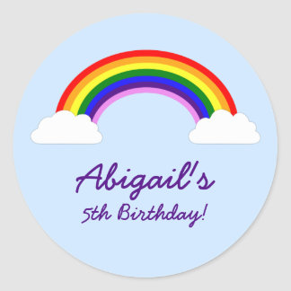 Rainbow Birthday Party Personalized Favor Round Sticker