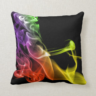 Rainbow Black Modern Abstract Smoke Plumes Throw Pillow