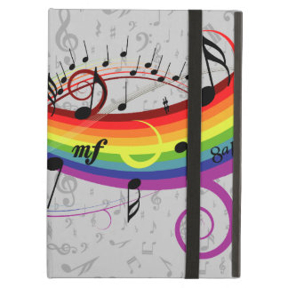 Rainbow Black Musical Notes on Gray Case For iPad Air
