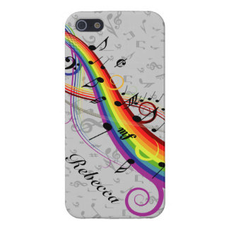 Rainbow Black Musical Notes on Gray iPhone 5 Case