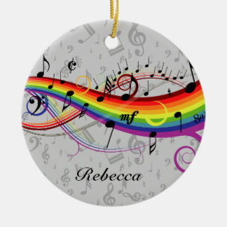 Rainbow Black Musical Notes on Gray Round Ceramic Decoration