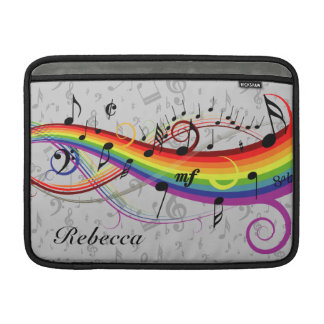 Rainbow Black Musical Notes on Gray Sleeve For MacBook Air