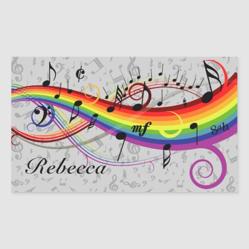 Rainbow Black Musical Notes on Gray Stickers