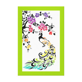 Rainbow, black peacock and cherry blossoms stretched canvas print