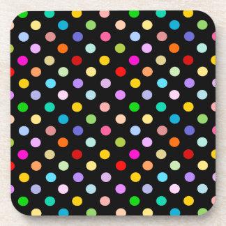 Rainbow Black Polka Dot pattern Beverage Coaster