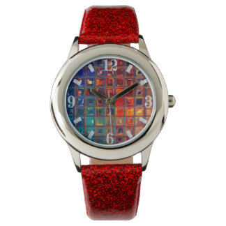 Rainbow Bling | Colorful Mosaic Tile Abstract Chic Watch
