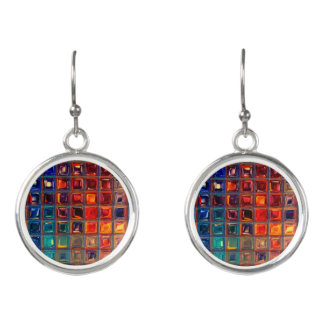 Rainbow Bling   Colorful Mosaic Tile Primary Color Earrings