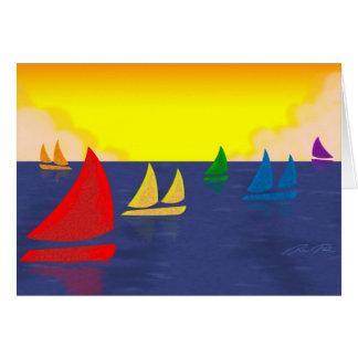 Rainbow Boats Greeting Card