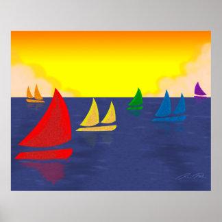 Rainbow Boats Smooth Sailing Poster