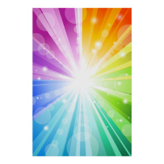 Rainbow Bokeh School/Portrait Photo Booth Backdrop Poster