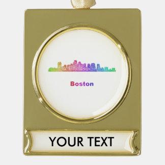 Rainbow Boston skyline Gold Plated Banner Ornament