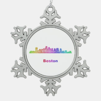 Rainbow Boston skyline Snowflake Pewter Christmas Ornament