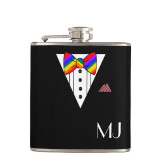 Rainbow Bow Tie Black Tuxedo Monogrammed Hip Flask