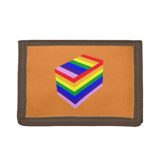 rainbow box Brown TriFold Nylon Wallet