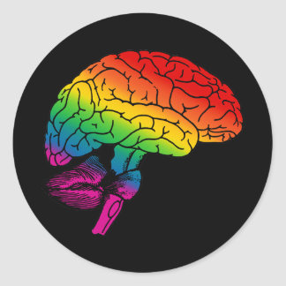 Rainbow Brain Classic Round Sticker