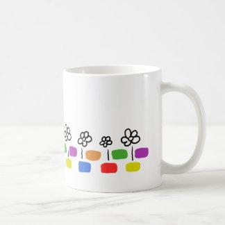 Rainbow Bricks And Daisies Basic White Mug