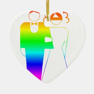 Rainbow Bride And Groom 2 Ceramic Heart Decoration