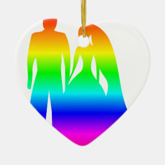 Rainbow Bride And Groom Ceramic Heart Decoration