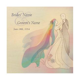 Rainbow Bride & Groom Wedding Memento Wood Canvases