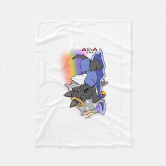 Rainbow Bridge black scottie boy Fleece Blanket