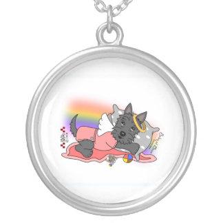 Rainbow Bridge black scottie girl Silver Plated Necklace