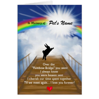Rainbow Bridge Memorial for Rabbits Card