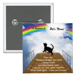 Rainbow Bridge Memorial Poem for Cats 15 Cm Square Badge