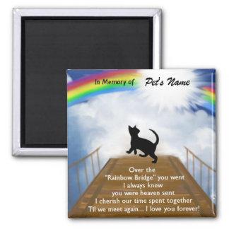 Rainbow Bridge Memorial Poem for Cats Square Magnet
