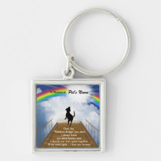 Rainbow Bridge Memorial Poem for Dogs Silver-Colored Square Key Ring