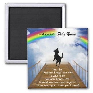 Rainbow Bridge Memorial Poem for Dogs Square Magnet