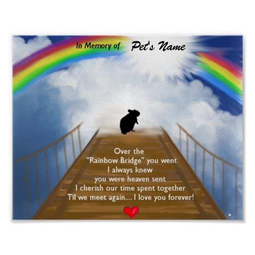 Rainbow Bridge Memorial Poem for Hamsters Poster