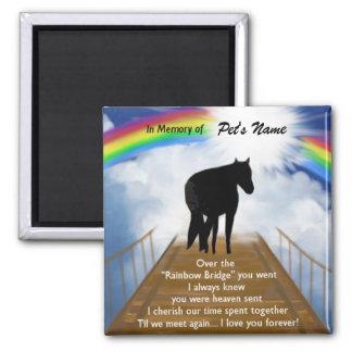 Rainbow Bridge Memorial Poem for Horses Square Magnet