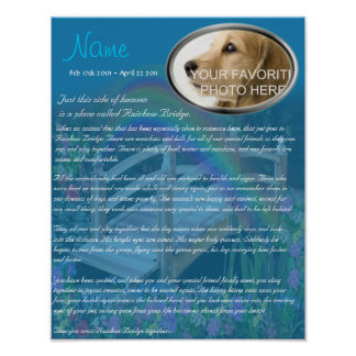 Rainbow Bridge Pet Memorial - Blue Poster