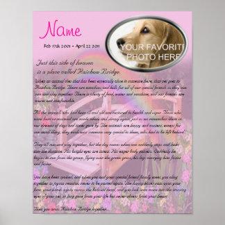 Rainbow Bridge Pet Memorial - Pink Poster