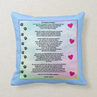 Rainbow Bridge With Paws And Hearts Cushion