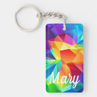 Rainbow Bright Happy Digital Color Kalidascope Fob Key Ring