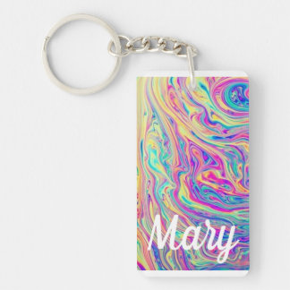 Rainbow Bright Happy Slick Color Kalidascope Fob Key Ring