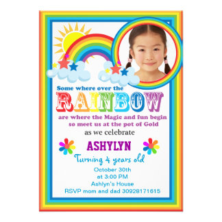 Rainbow brithday your child s photo invitation