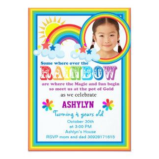 Rainbow brithday your child's photo invitation