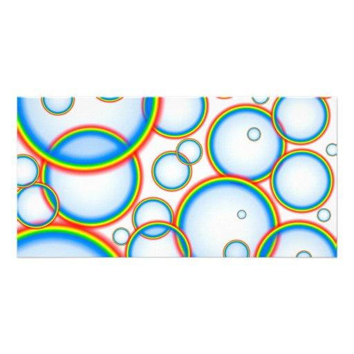 Rainbow bubbles custom photo card