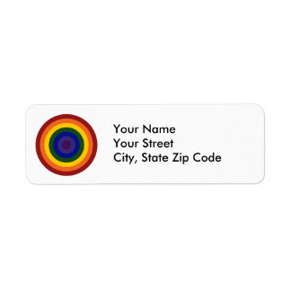 Rainbow Bullseye Return Address Label