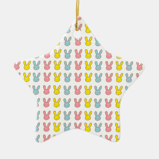 Rainbow Bunnies Ceramic Star Decoration