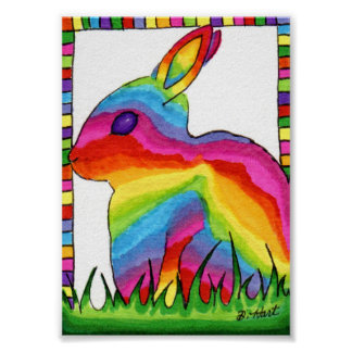 Rainbow Bunny Rabbit Mini Folk Art Poster