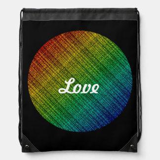 Rainbow Burlap Tweed Wool Jute Drawstring Backpack