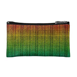 Rainbow Burlap Tweed Wool Jute Makeup Bags