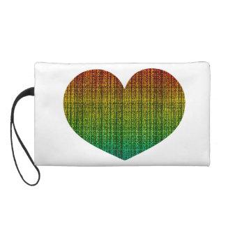 Rainbow Burlap Tweed Wool Jute Wristlet Purses
